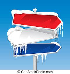 Eingefrorener Wegweiser.