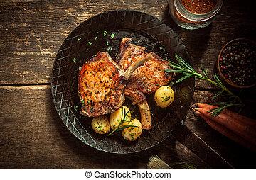 eingelegt , feinschmecker, schweinefleisch, mahlzeit, schnitzel