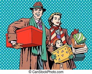 Einkaufen glückliche Familie Vater Mutter