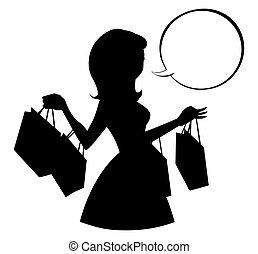 Einkaufende Mädchen Silhouette mit leerer Sprachblase