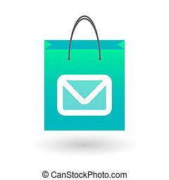 Einkaufstasche mit einem Postzeichen.