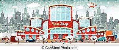 Einkaufszentrum in der Stadt (Winter)