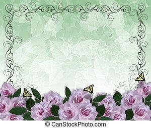 Einladung an die Grenze zu Lavendelrosen