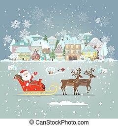 Einladungskarte mit dem Weihnachtsmann in einem Schlitten für Ihr Design.