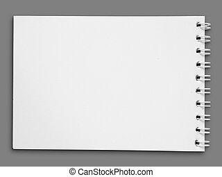 eins, briefpapier, leer, weißes gesicht, buch
