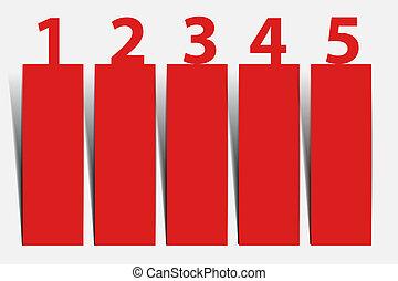 Eins zwei drei vier fünf - Vektor Fortschritt Icons für 5 Schritte.