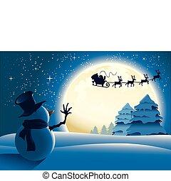 Einsamer Schneemann winkt nach Santa.