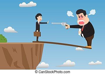 einschüchtern, employee., felsformation, vektor, böser , seine, überhängen, aktiv, abbildung, vorgesetzter, self-sabotage, karikatur, gewehr, gebrauchend, dumm, holz, concept., steilhang, stehen