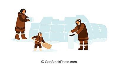 eis, vektor, würfel, wohnung, konstruieren, inuit, leute, kleidung, zusammen., weißes, iglu, eskimo, hintergrund, karikatur, gebäude, abbildung, house., traditionelle , familie, freigestellt