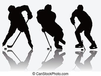 Eishockeyspieler Silhouette.