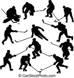 Eishockeyspieler Silhouetten bereit