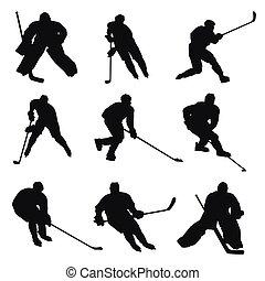 Eishockeyspieler Silhouetten.