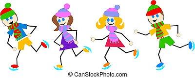 Eislaufende Kinder