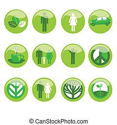 Ekologische Ikone eingestellt