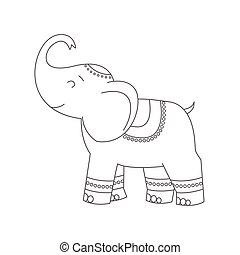 Elefant für Farbbuch.