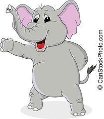 Elefant-Karikatur mit Handwinkeln