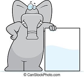 Elefant lehnt sich
