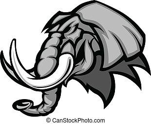Elefant Maskottchenkopfgrafik