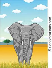 Elefant mit afrikanischer Savanne zurück
