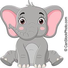 elefant, reizend, sitzen, wenig, karikatur