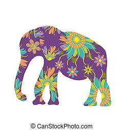 Elefant Vektorsilhouette, süße Vorlage.