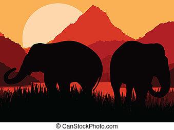 Elefantenfamilie in einem wilden afrikanischen Berg-Naturvektor