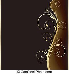 Elegant dunkler Hintergrund mit goldenen Blumenmusterelementen