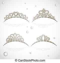 elegant, kostbar, weißes, freigestellt, tiara, steine, glänzend, hintergrund