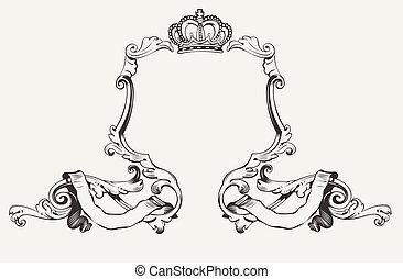 elegant, rahmen, königliche krone