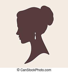 elegant, vektor, silhouette, braut