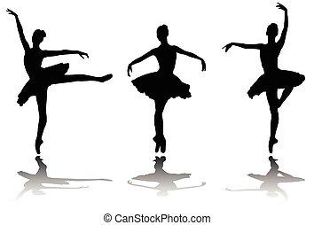 Elegante Ballerinas Silhouetten.