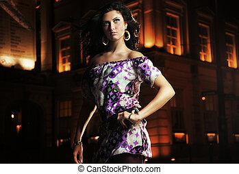 Elegante Dame über einer schönen Nachtstadt