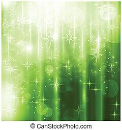 Elegante grüne Weihnachtskarte mit funkelnden Lichtern