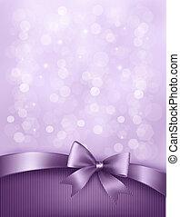 Eleganter Feiertags-Hintergrund mit Geschenkbogen und Band. Vector