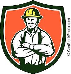 elektriker, schutzschirm, gekreuzt, retro, arme