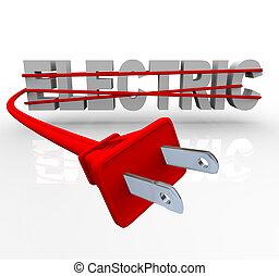 Elektrisch, eingewickelt in Stromkabel