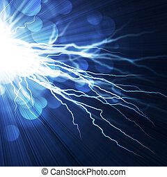 Elektrische Blitze im blauen Hintergrund