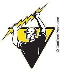 Elektrische Stromleitung mit Lichtbolzen
