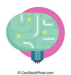 Elektrisches Gehirn für Androiden, menschliche Organ-Replik, Teil der futuristischen Roboter- und IT-Science-Serie von Zeichentrick-Icons