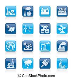 Elektrizität und Energiequelle Icons.
