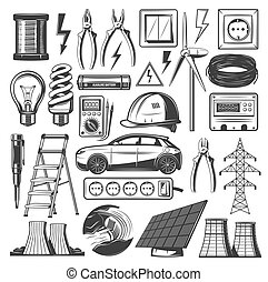 Elektrizitätskraft und Energiequellen Vektor Icons