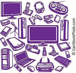 Elektronik und Computer-Ausrüstung Icon Set.