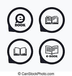 Elektronische Buchzeichen. E-Book Symbole.