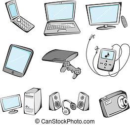 Elektronische Gegenstände sind Ikonen