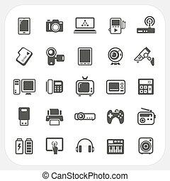 Elektronische Geräte-Icons eingestellt.