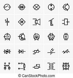 Elektronische Komponenten-Icons.