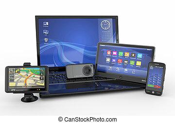 Elektronische. Laptop, Handy, Tablet PC und GPS