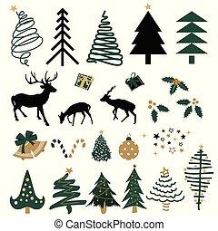 element, gezeichnet, weihnachten, satz übergeben