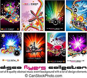 elemente, bunte, discoteque, musik, 8, hintergrund, flieger, design, qualität, ereignis