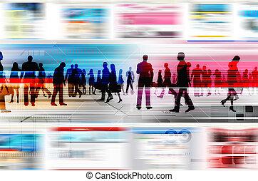elemente, geschäftsmenschen, innenseite, virtuell, illustriert, website, hitech, welt, gefunkel, internet., design.